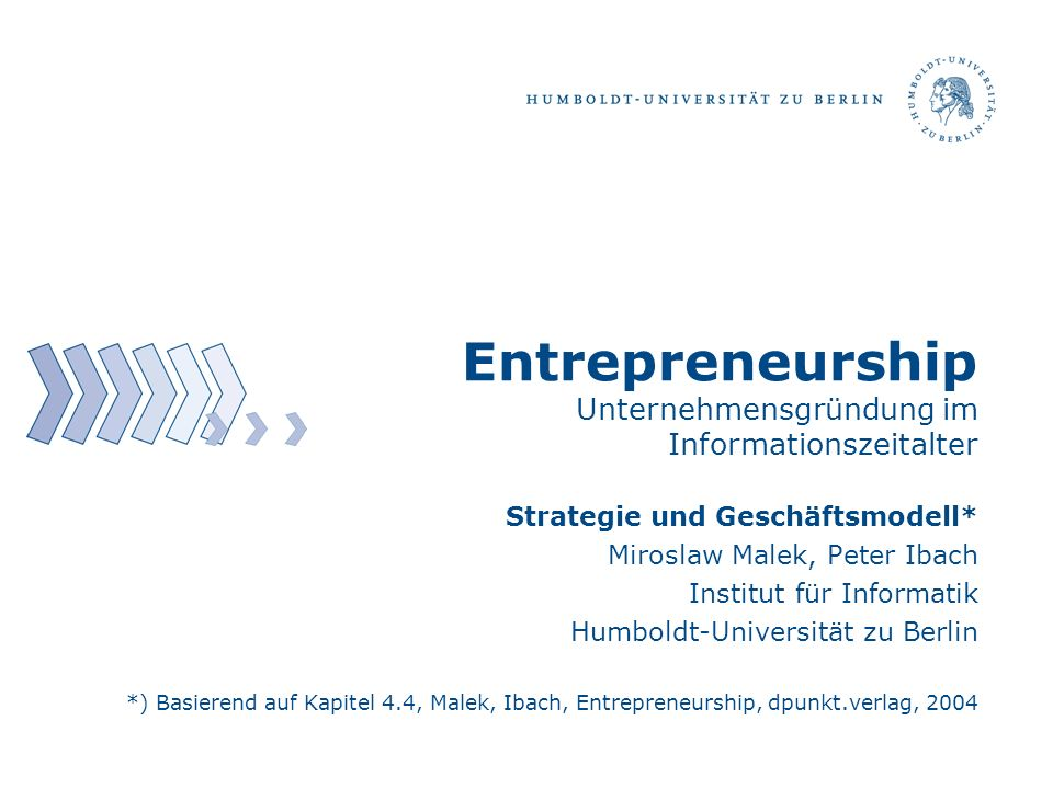 Entrepreneurship Unternehmensgründung im Informationszeitalter