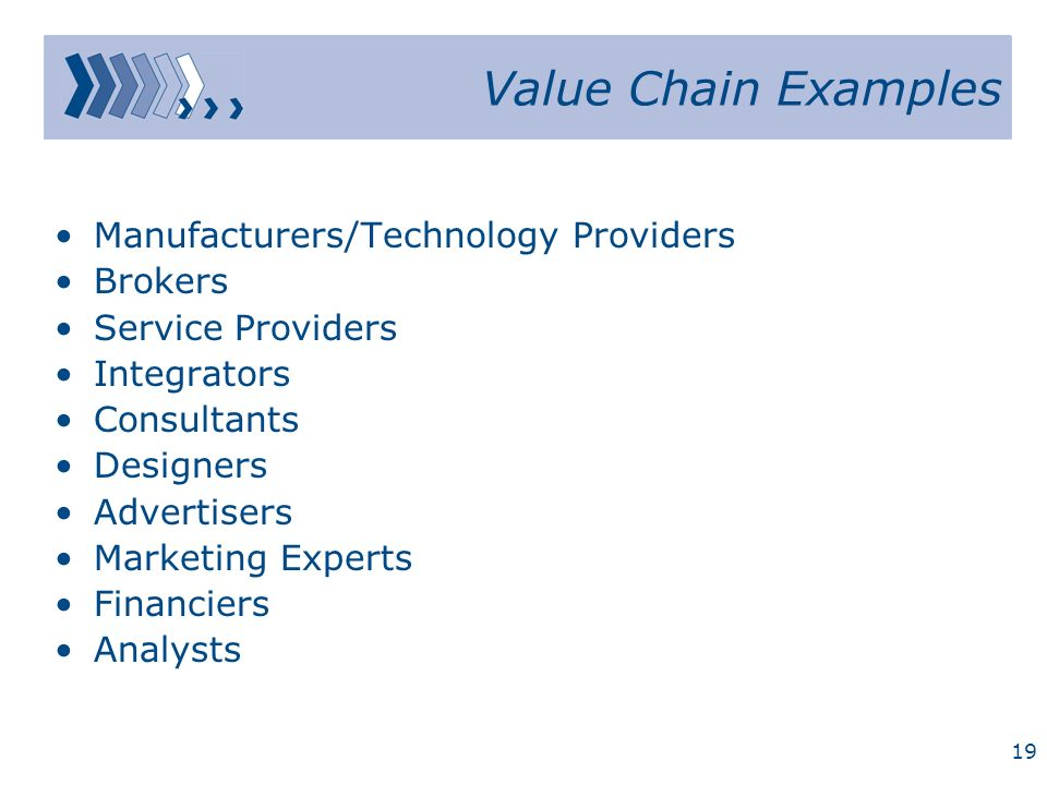Value Chain Examples Manufacturers/Technology Providers Brokers
