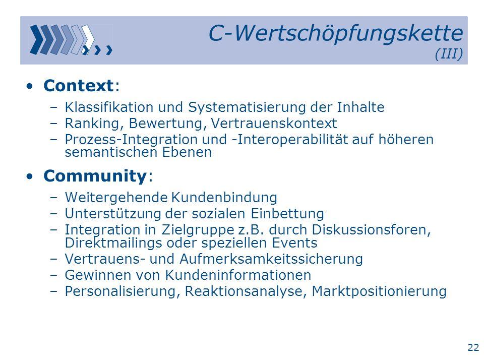 C-Wertschöpfungskette (III)
