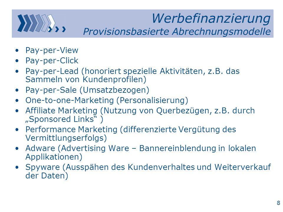 Werbefinanzierung Provisionsbasierte Abrechnungsmodelle