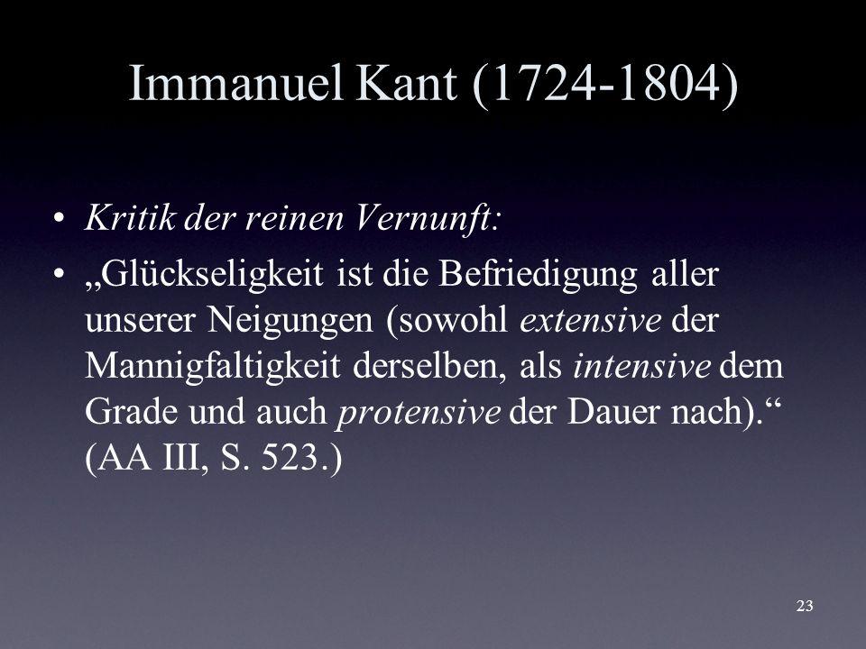 Immanuel Kant (1724-1804) Kritik der reinen Vernunft: