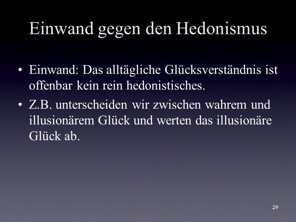 Einwand gegen den Hedonismus
