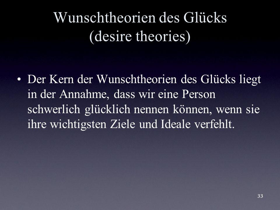Wunschtheorien des Glücks (desire theories)
