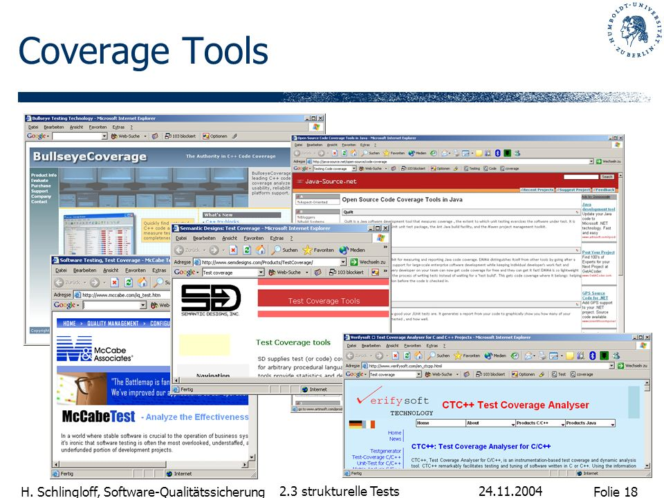 Coverage Tools 2.3 strukturelle Tests 24.11.2004