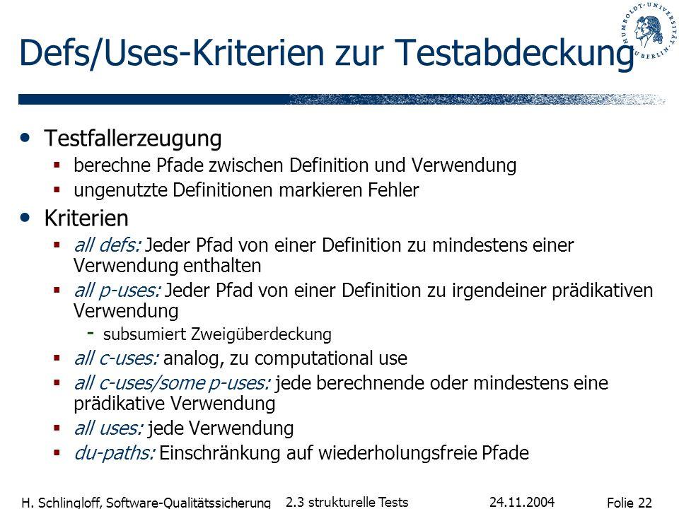 Defs/Uses-Kriterien zur Testabdeckung