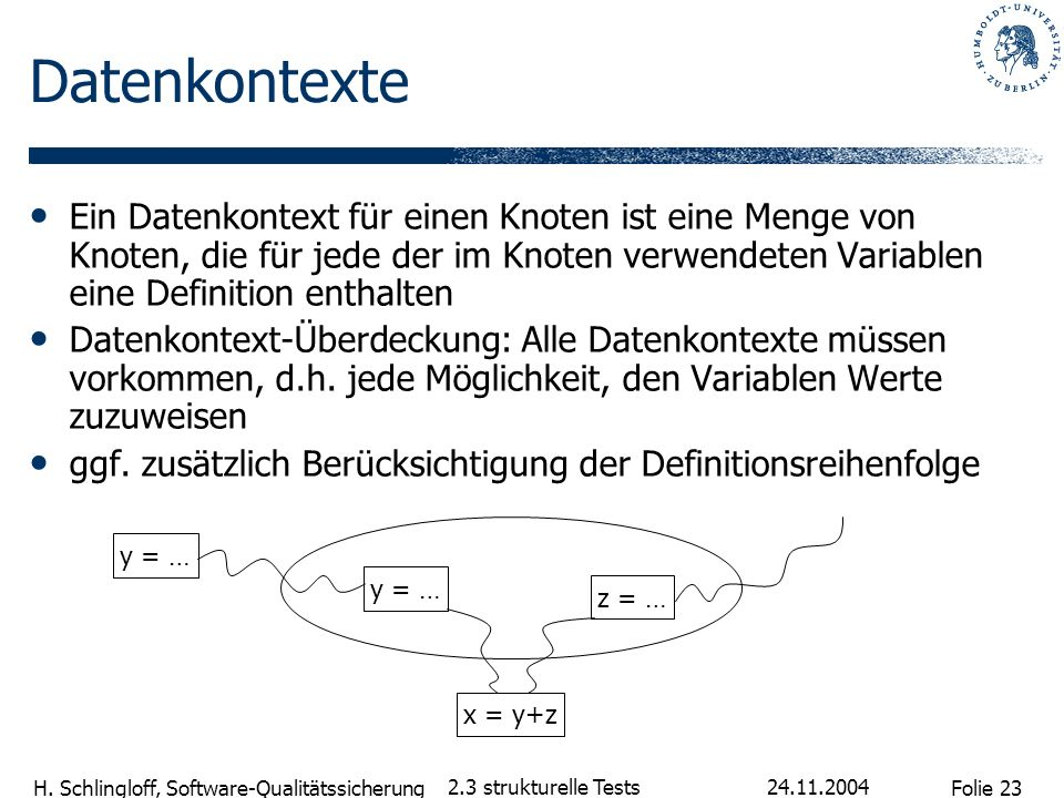 Datenkontexte Ein Datenkontext für einen Knoten ist eine Menge von Knoten, die für jede der im Knoten verwendeten Variablen eine Definition enthalten.