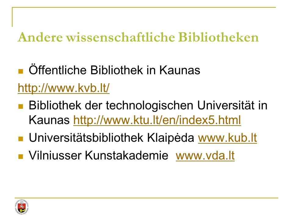Andere wissenschaftliche Bibliotheken