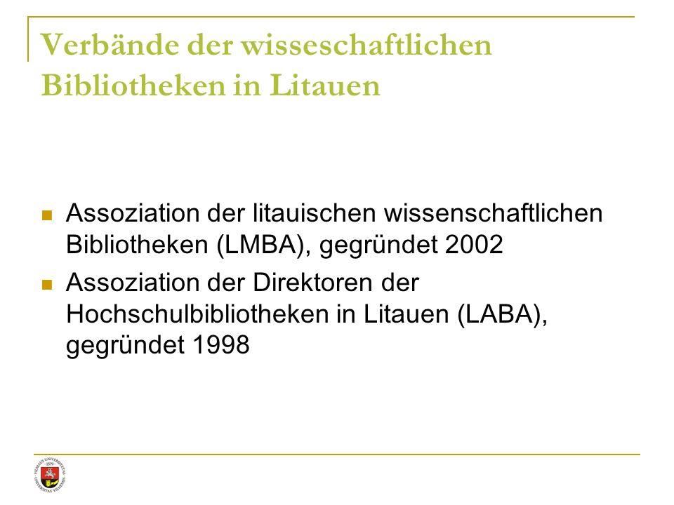 Verbände der wisseschaftlichen Bibliotheken in Litauen