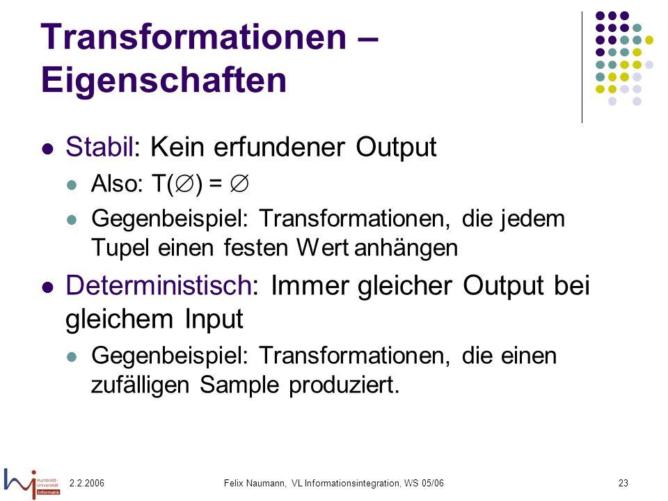 Transformationen – Eigenschaften