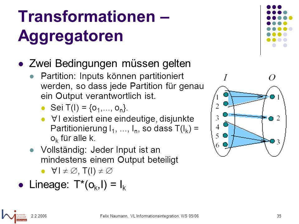 Transformationen – Aggregatoren