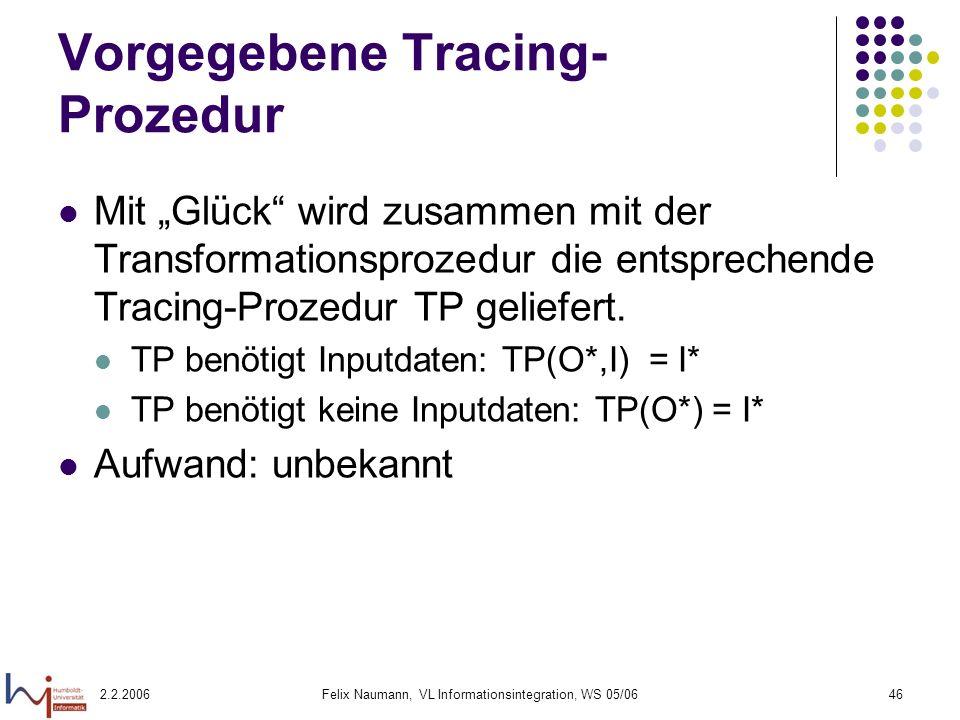 Vorgegebene Tracing-Prozedur