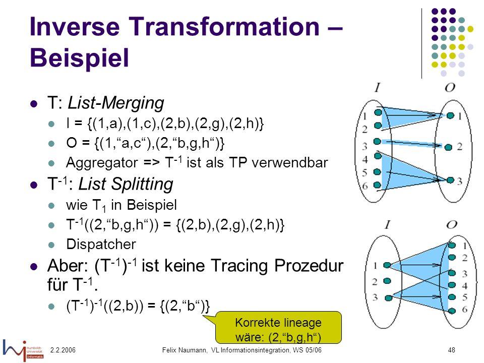 Inverse Transformation – Beispiel