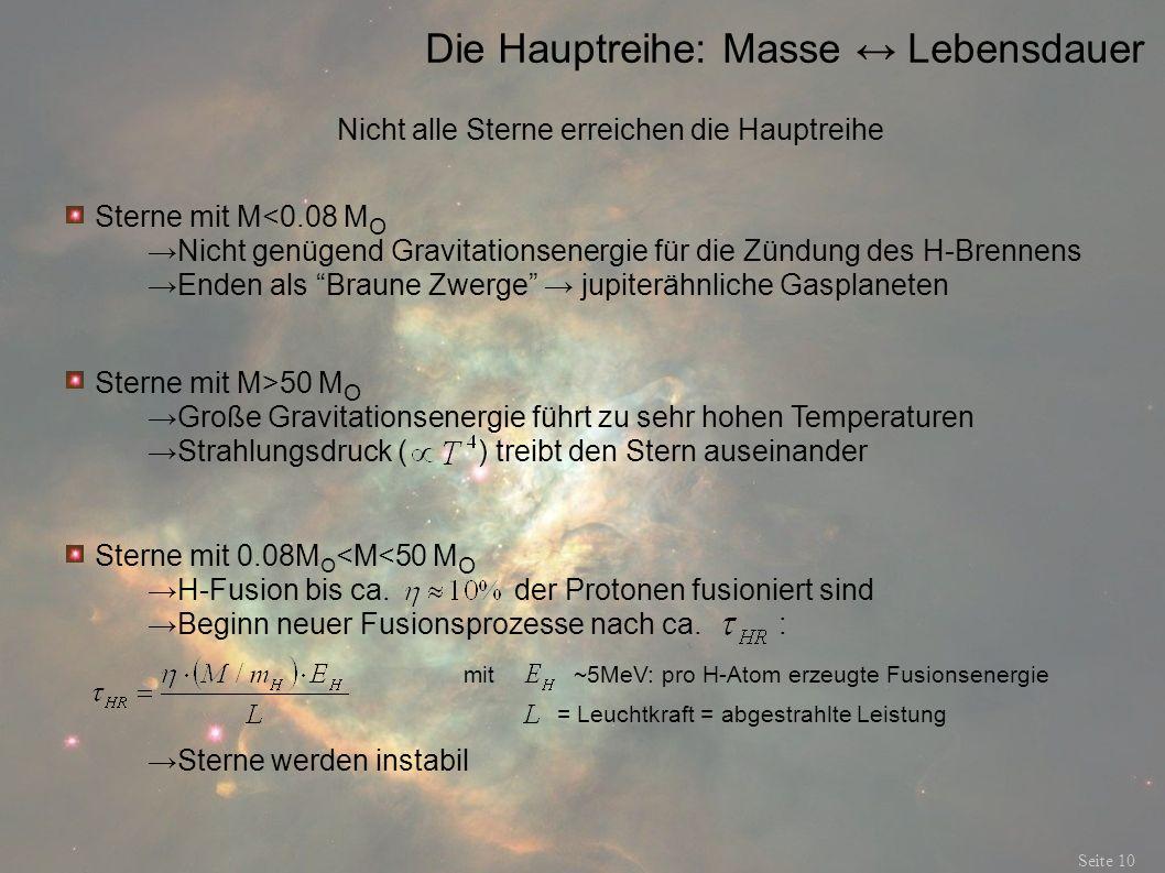 Die Hauptreihe: Masse ↔ Lebensdauer