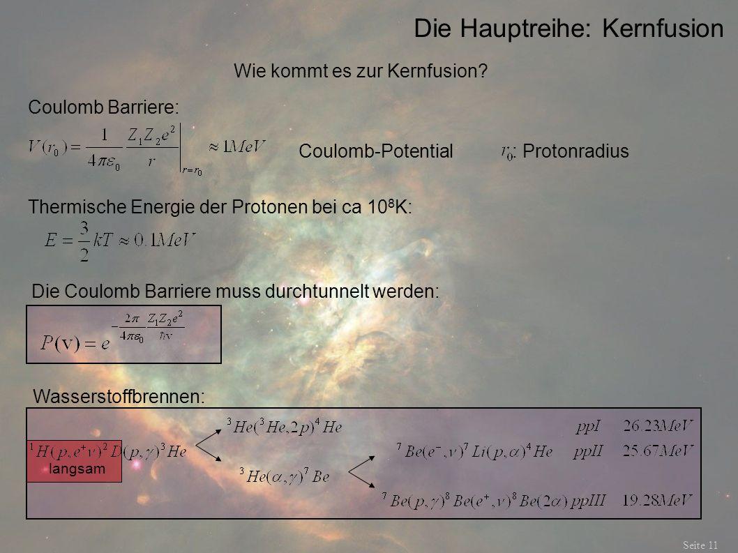 Die Hauptreihe: Kernfusion