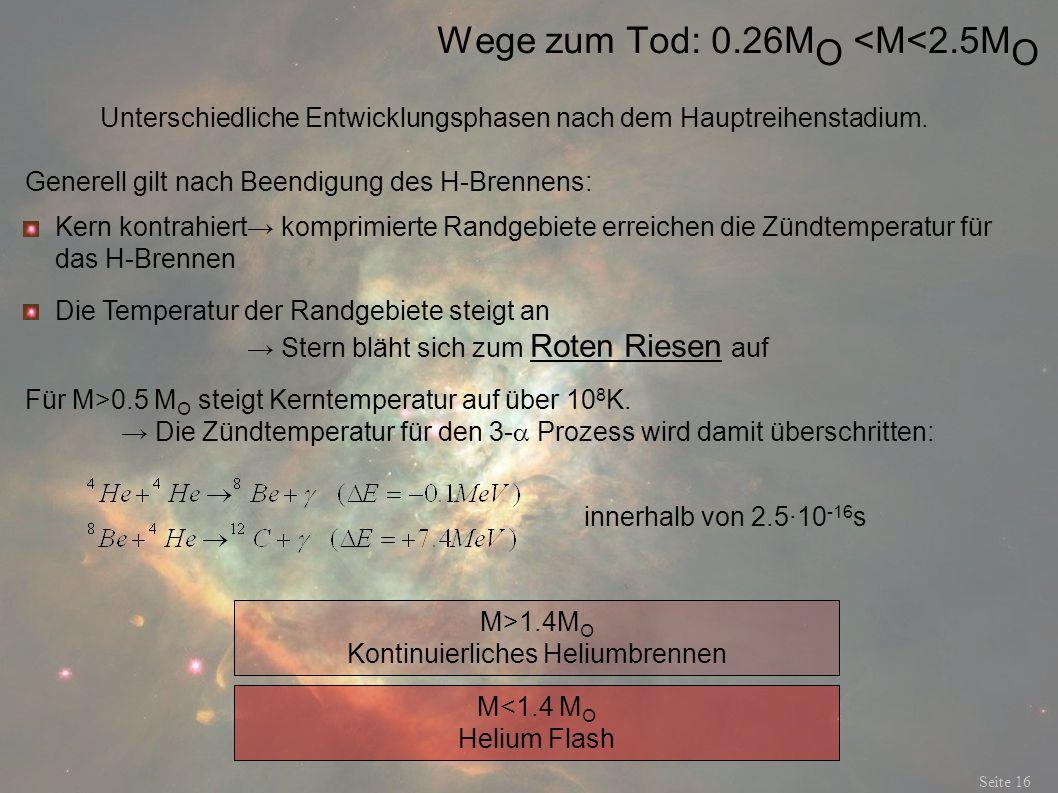 Wege zum Tod: 0.26MO <M<2.5MO