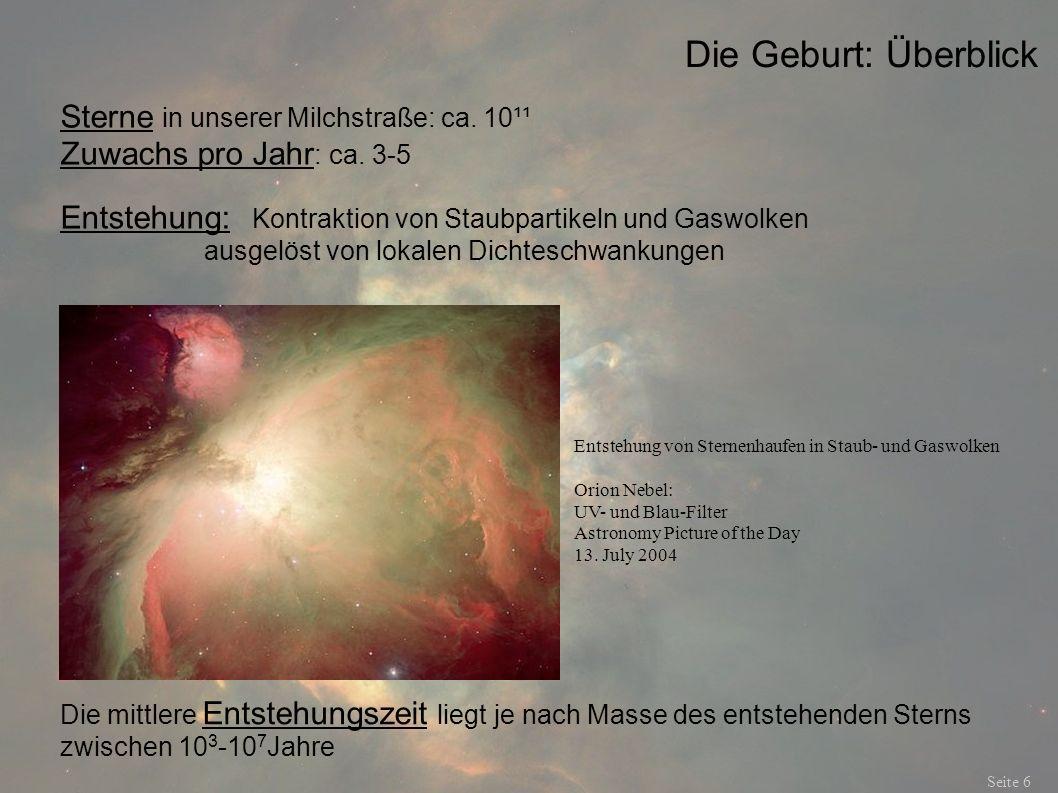 Die Geburt: Überblick Sterne in unserer Milchstraße: ca. 10¹¹