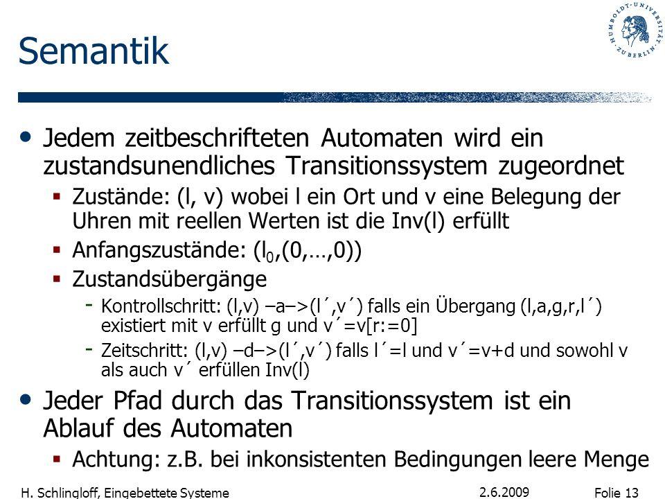 SemantikJedem zeitbeschrifteten Automaten wird ein zustandsunendliches Transitionssystem zugeordnet.