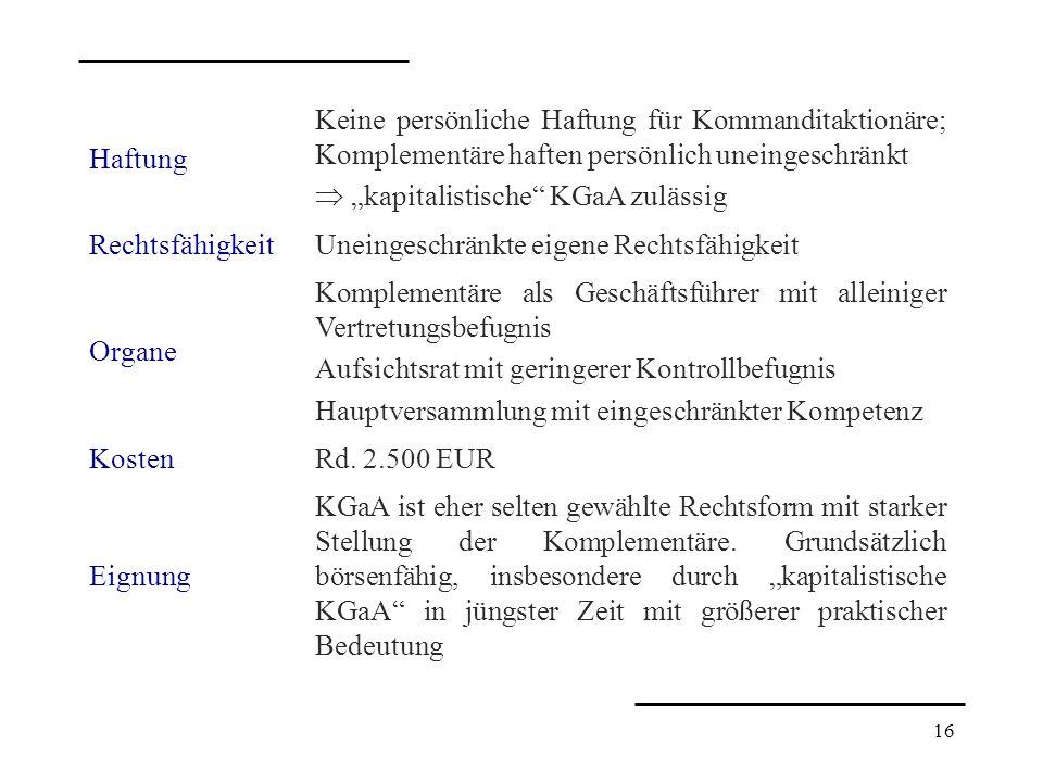 HaftungKeine persönliche Haftung für Kommanditaktionäre; Komplementäre haften persönlich uneingeschränkt.