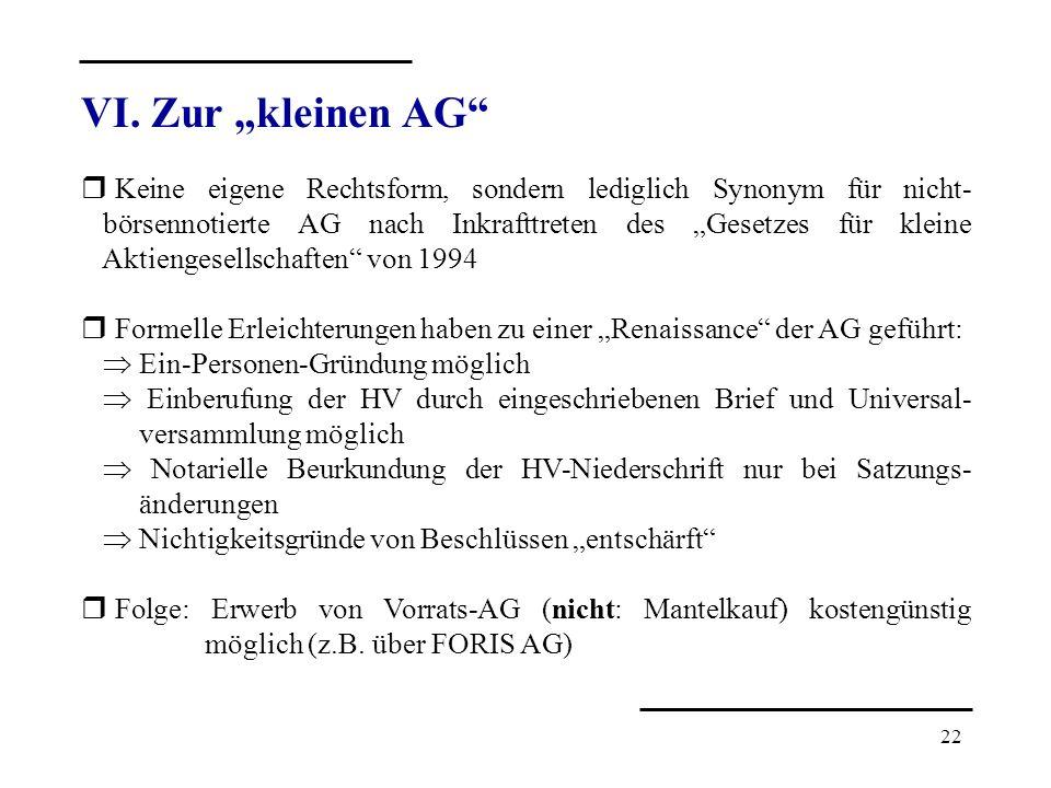 """VI. Zur """"kleinen AG"""