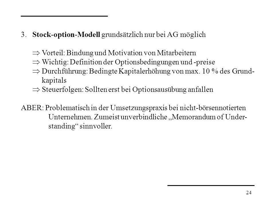 Stock options bei gmbh