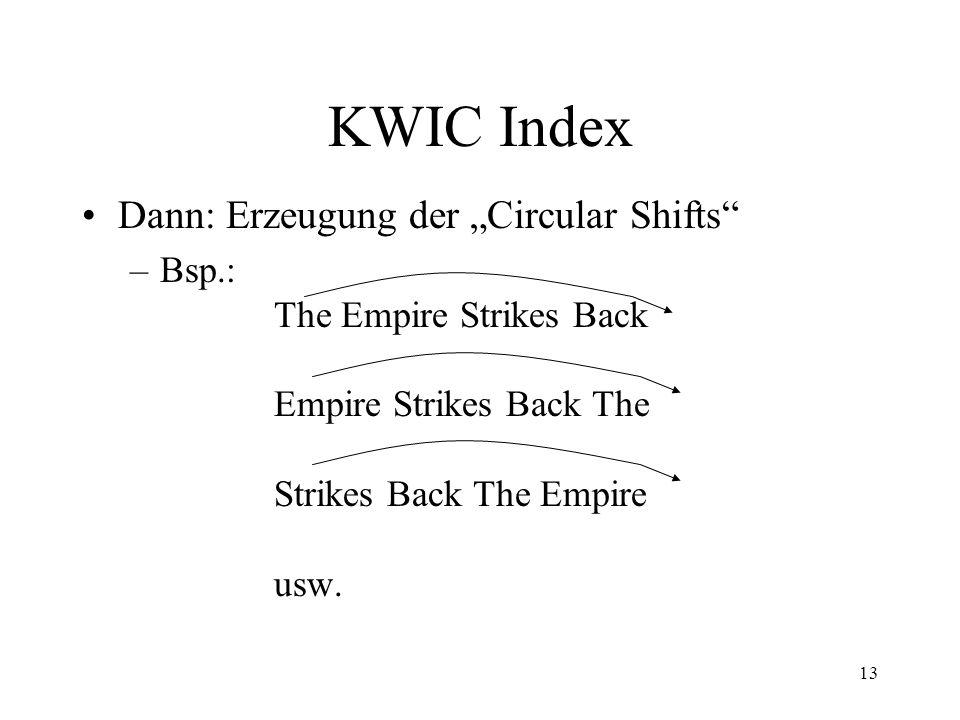 "KWIC Index Dann: Erzeugung der ""Circular Shifts"