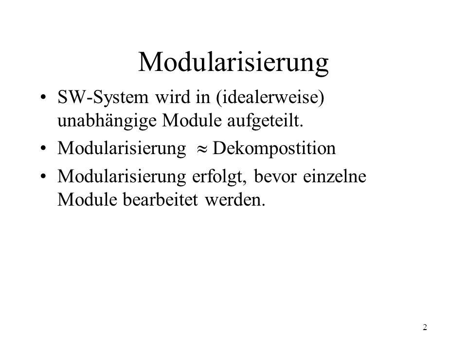 Modularisierung SW-System wird in (idealerweise) unabhängige Module aufgeteilt. Modularisierung  Dekompostition.