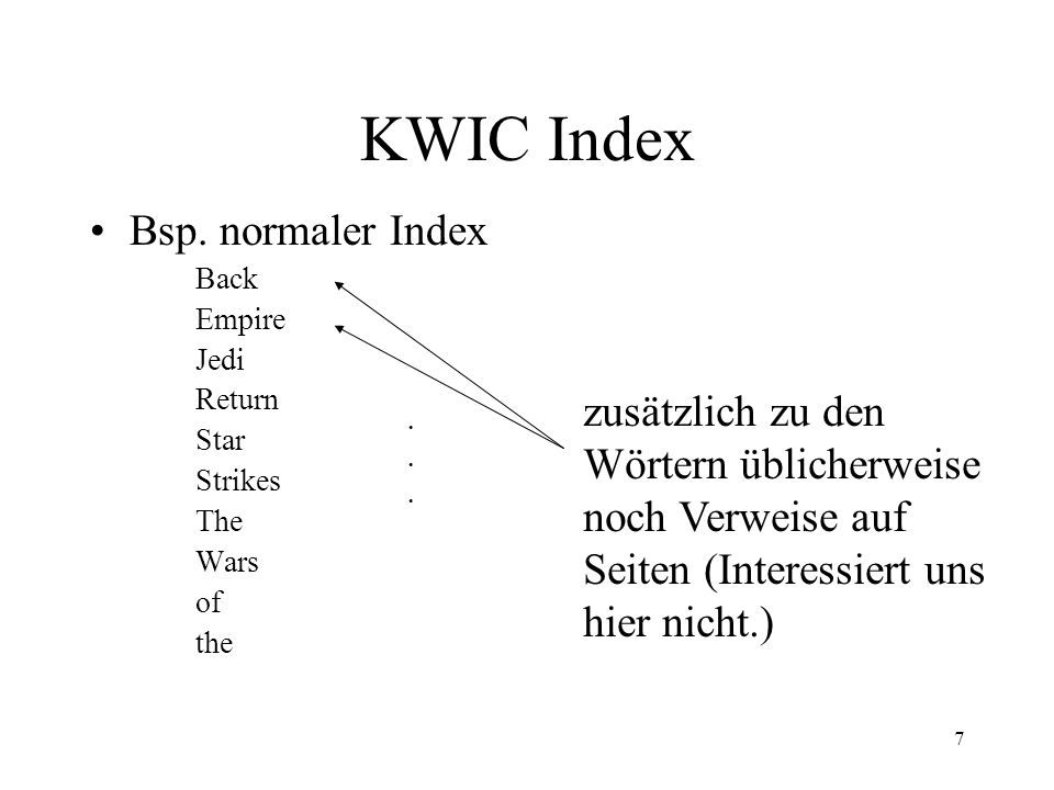 KWIC Index Bsp. normaler Index