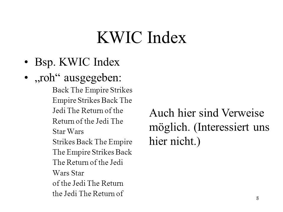 """KWIC Index Bsp. KWIC Index """"roh ausgegeben:"""