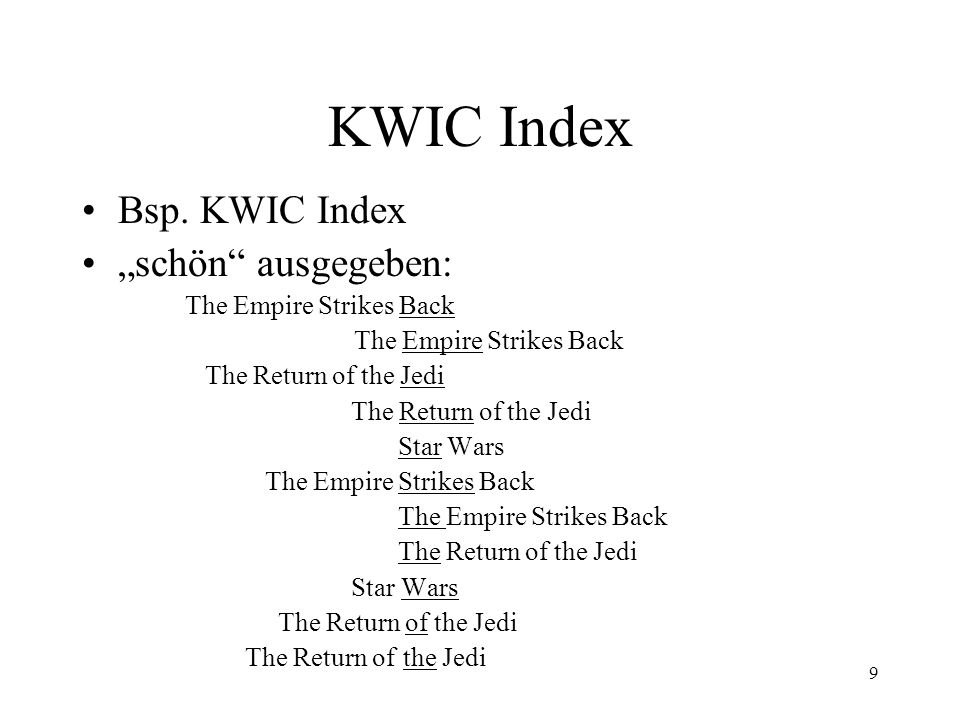 "KWIC Index Bsp. KWIC Index ""schön ausgegeben: The Empire Strikes Back"