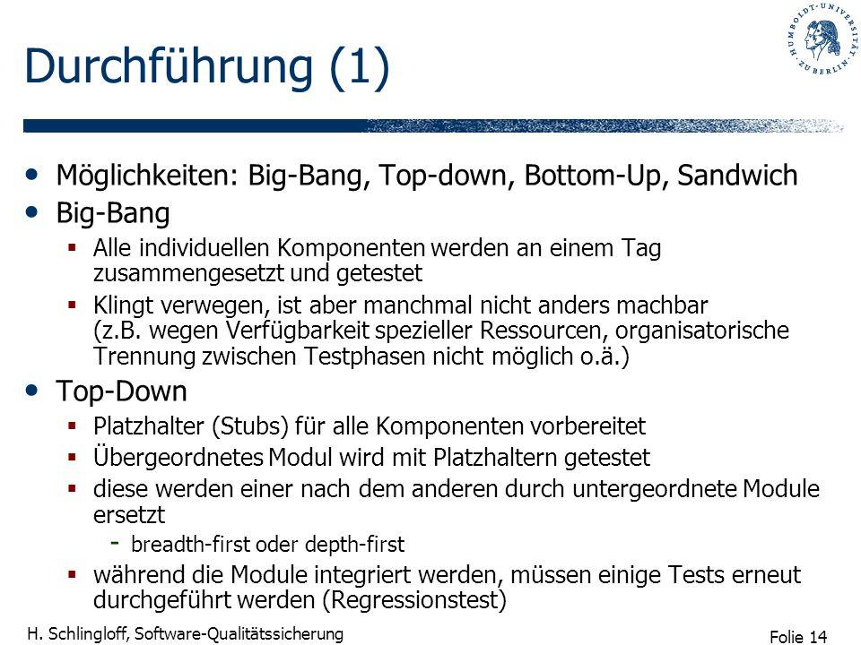 Durchführung (1)Möglichkeiten: Big-Bang, Top-down, Bottom-Up, Sandwich. Big-Bang.