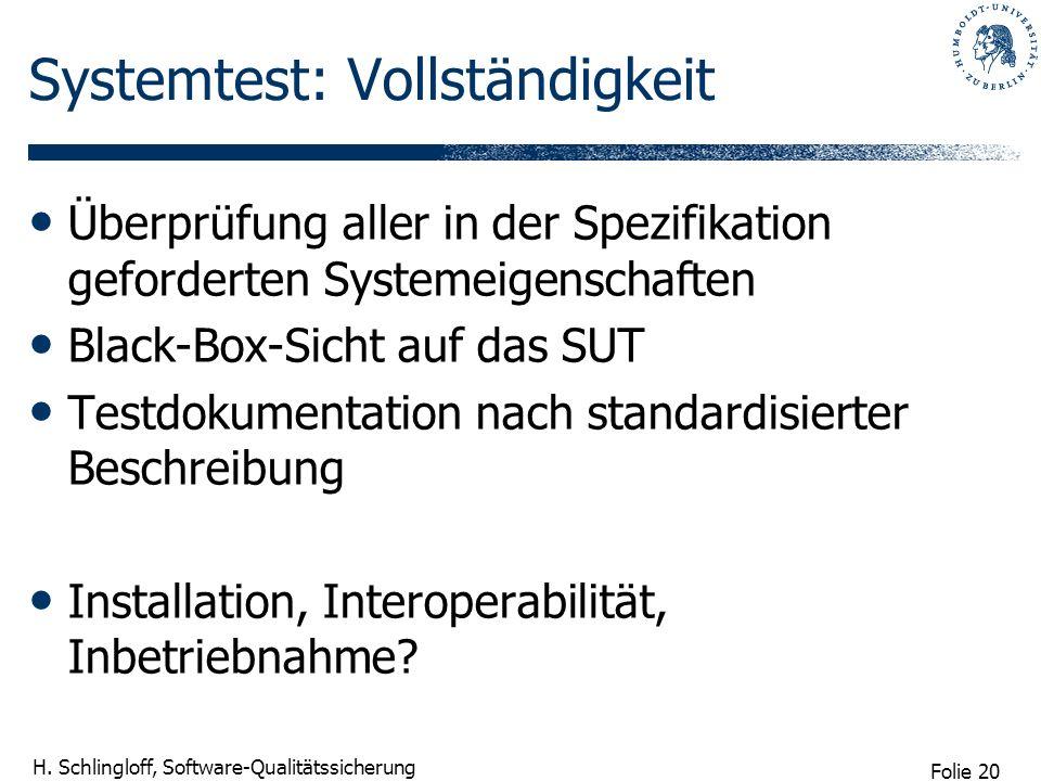 Systemtest: Vollständigkeit