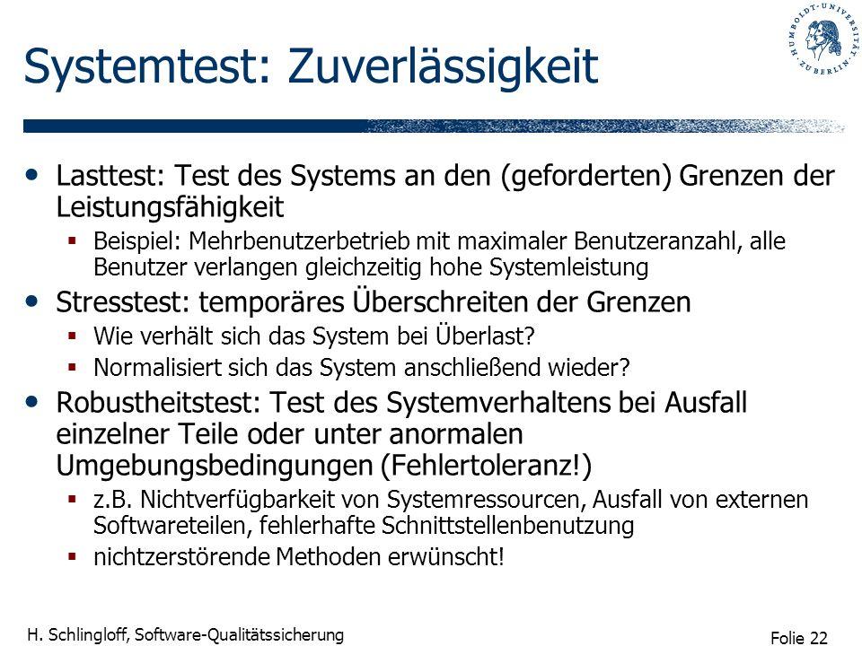Systemtest: Zuverlässigkeit