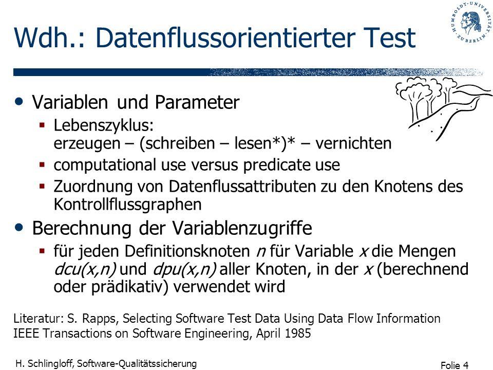 Wdh.: Datenflussorientierter Test