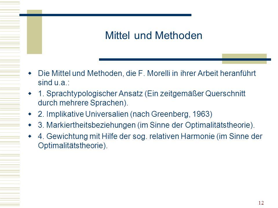 Mittel und Methoden Die Mittel und Methoden, die F. Morelli in ihrer Arbeit heranführt sind u.a.: