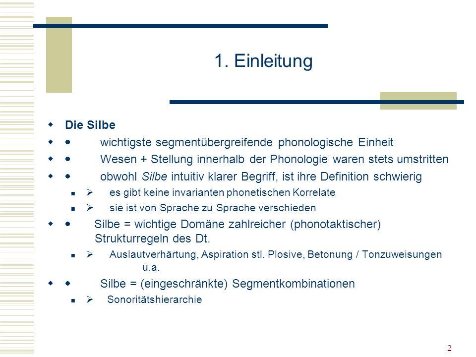 1. Einleitung Die Silbe. · wichtigste segmentübergreifende phonologische Einheit.