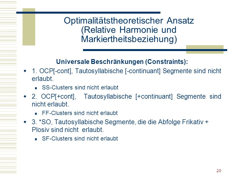 Universale Beschränkungen (Constraints):