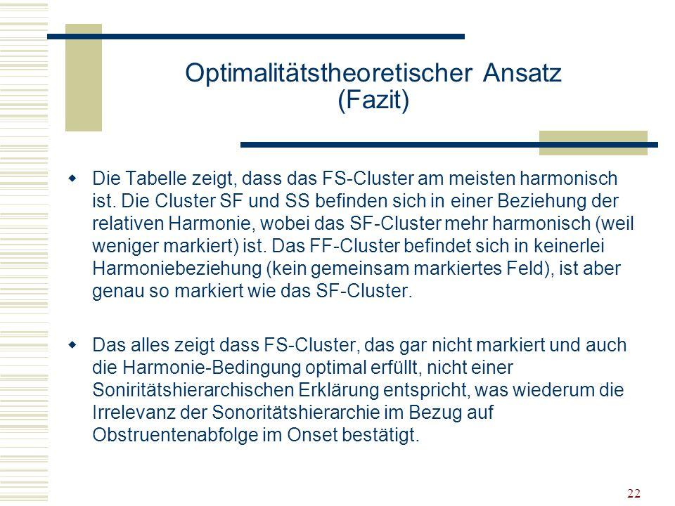Optimalitätstheoretischer Ansatz (Fazit)