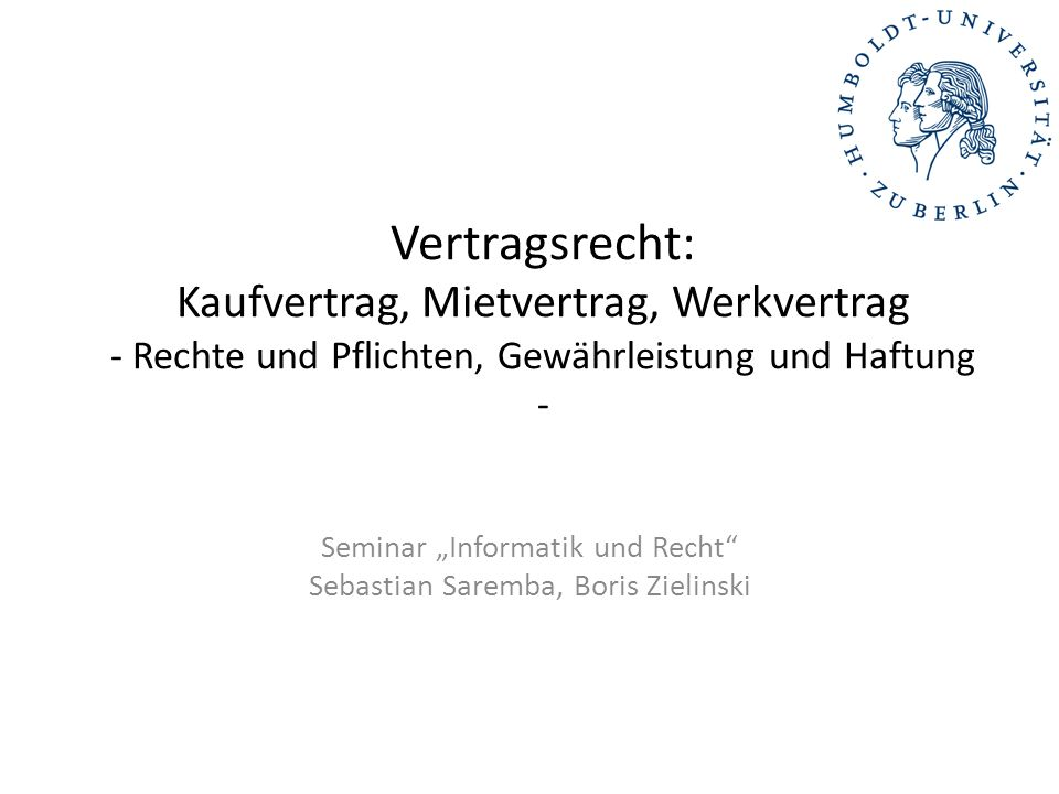 "Seminar ""Informatik und Recht Sebastian Saremba, Boris Zielinski"