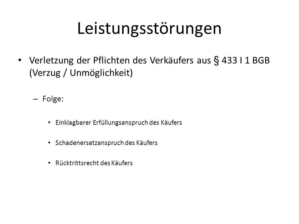 Leistungsstörungen Verletzung der Pflichten des Verkäufers aus § 433 I 1 BGB (Verzug / Unmöglichkeit)