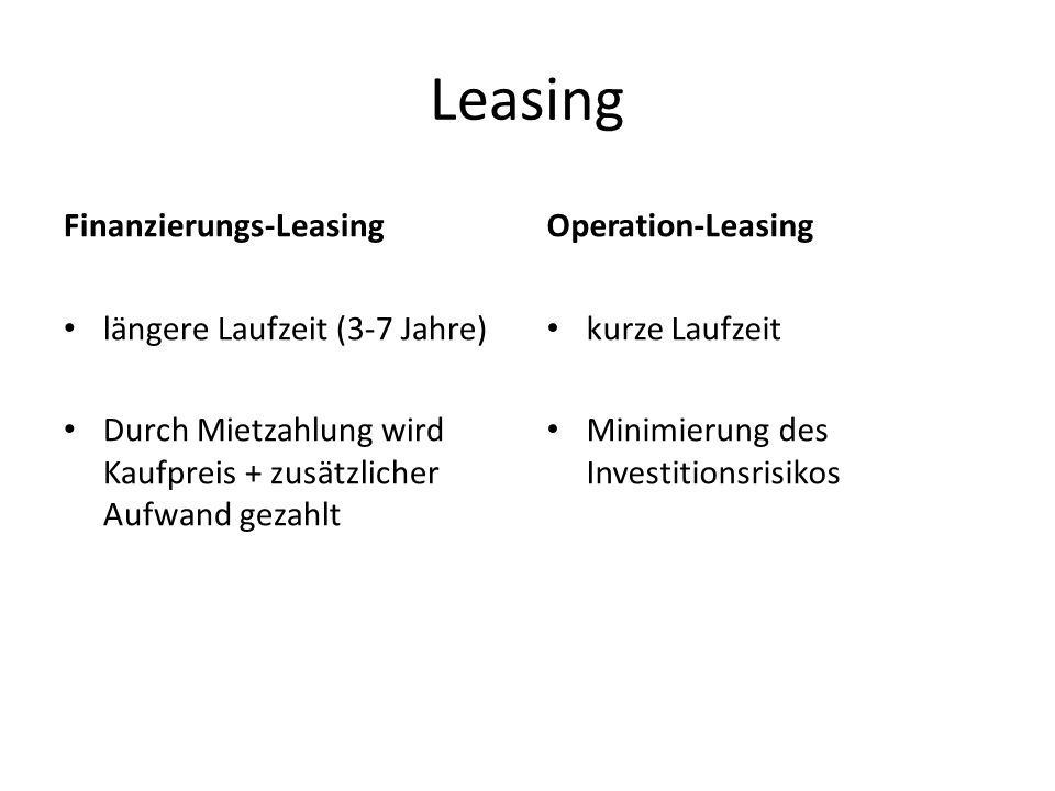 Leasing Finanzierungs-Leasing Operation-Leasing