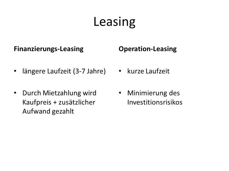 Leasing Finanzierungs-Leasing Operation-Leasing