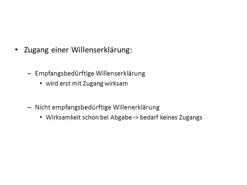 Zugang einer Willenserklärung: