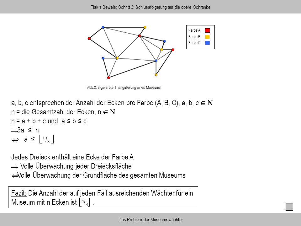 n = die Gesamtzahl der Ecken, n   n = a + b + c und a ≤ b ≤ c 3a ≤ n