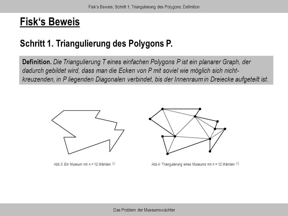 Fisk's Beweis Schritt 1. Triangulierung des Polygons P.