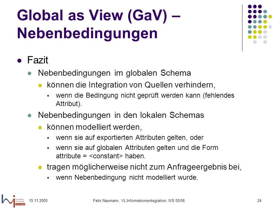 Global as View (GaV) – Nebenbedingungen