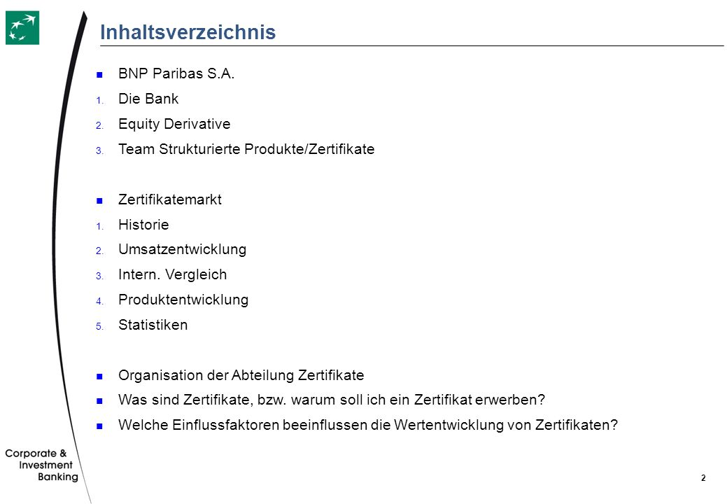 Inhaltsverzeichnis BNP Paribas S.A. Die Bank Equity Derivative