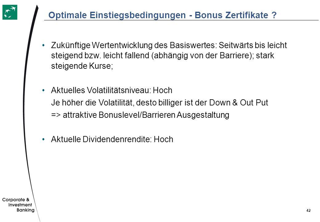 Optimale Einstiegsbedingungen - Bonus Zertifikate