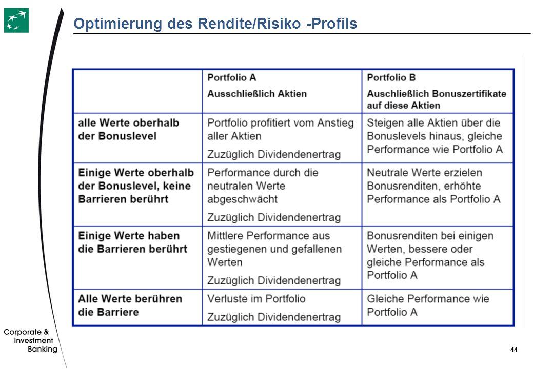 Optimierung des Rendite/Risiko -Profils