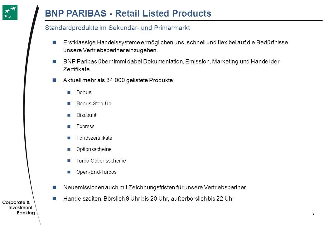BNP PARIBAS - Retail Listed Products