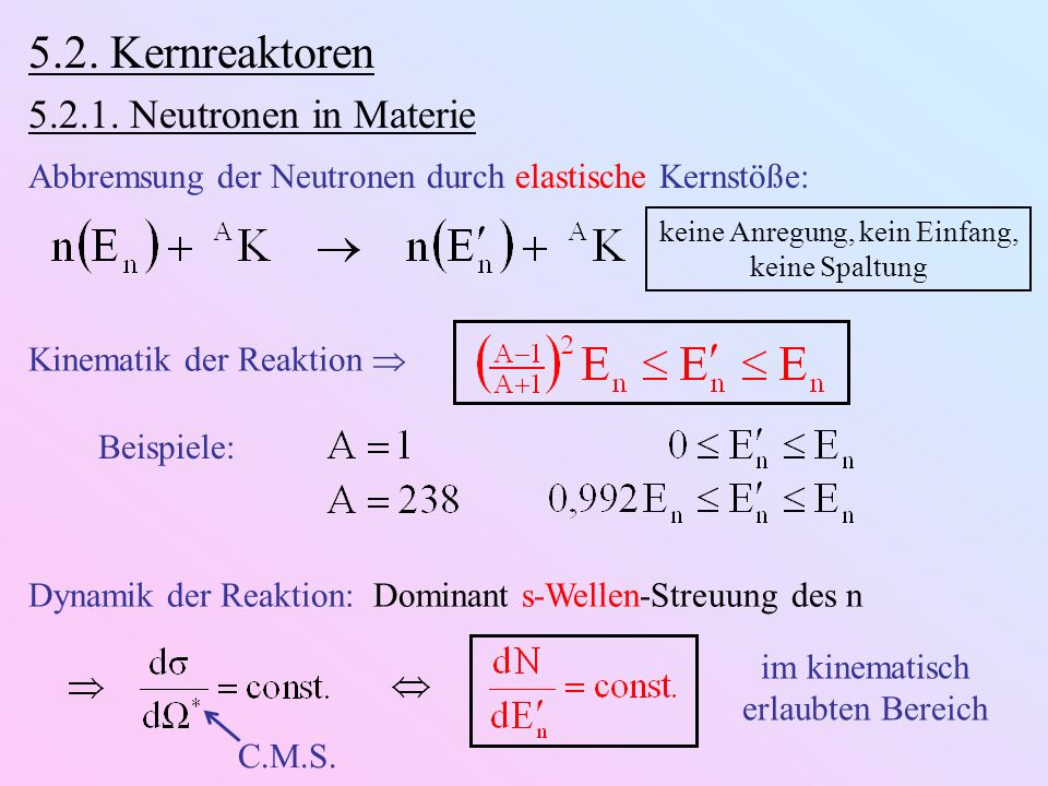 5.2. Kernreaktoren 5.2.1. Neutronen in Materie